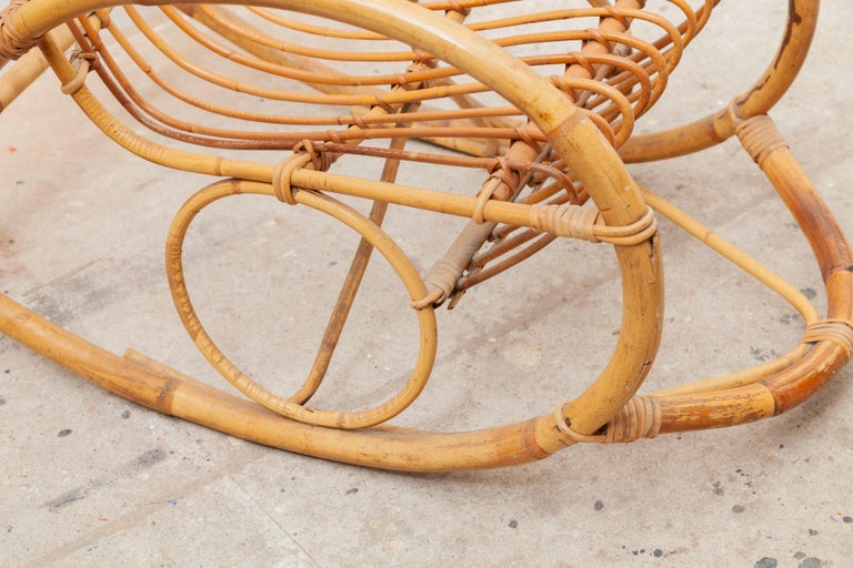 Mid-20th Century 1950s Bamboo Rocking Chair, Italy For Sale