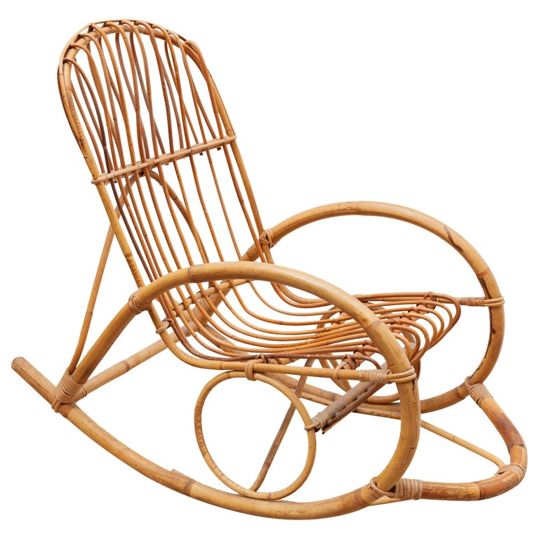 1950s Bamboo Rocking Chair, Italy For Sale