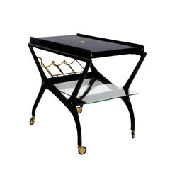 1950s Bar Cart Attributed to Cesare Lacca, Extensions, Mahogany, Brass, Italy
