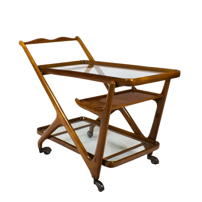 1950s Bar Cart by Cesare Lacca for Cassina, Cherrywood, Italy