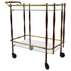 1950s Bar Cart, Midcentury, Brass and Walnut on Casters