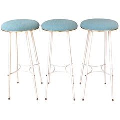 1950s Bar Stools, White Metal, Brass and Pastel Blue Upholstery, a Set of 3