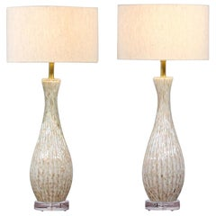 1950s Barbini Murano Bullicante Glass Lamps, a Pair