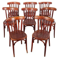 1950s Baumann Bentwood Bistro Dining Chair, Spice, Set of Eight