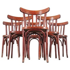 1950s Baumann Bentwood Bistro Dining Chair, Spice, Set of Six