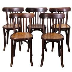 1950s Baumann Bentwood Bistro Dining Chair, Tonal, Set of Five
