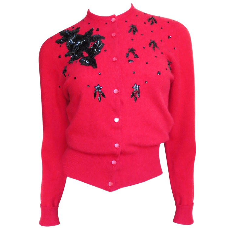 1950s Beaded Cashmere Lyle & Scott Cardigan Sweater For Sale