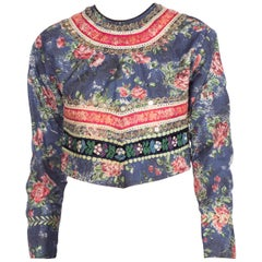 1950S Beaded Cotton Floral Jacket With Embroidered Ribbon Trim