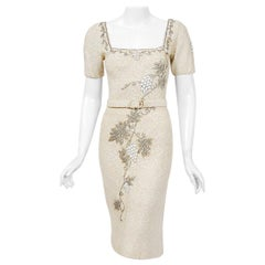1950's Beaded Grapevine Motif Ivory Hand-Knit Sequin Wool Hourglass Belted Dress