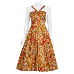 1950's Beaded Marigold & Red Floral Print Cotton Shelf-Bust Circle Skirt Dress