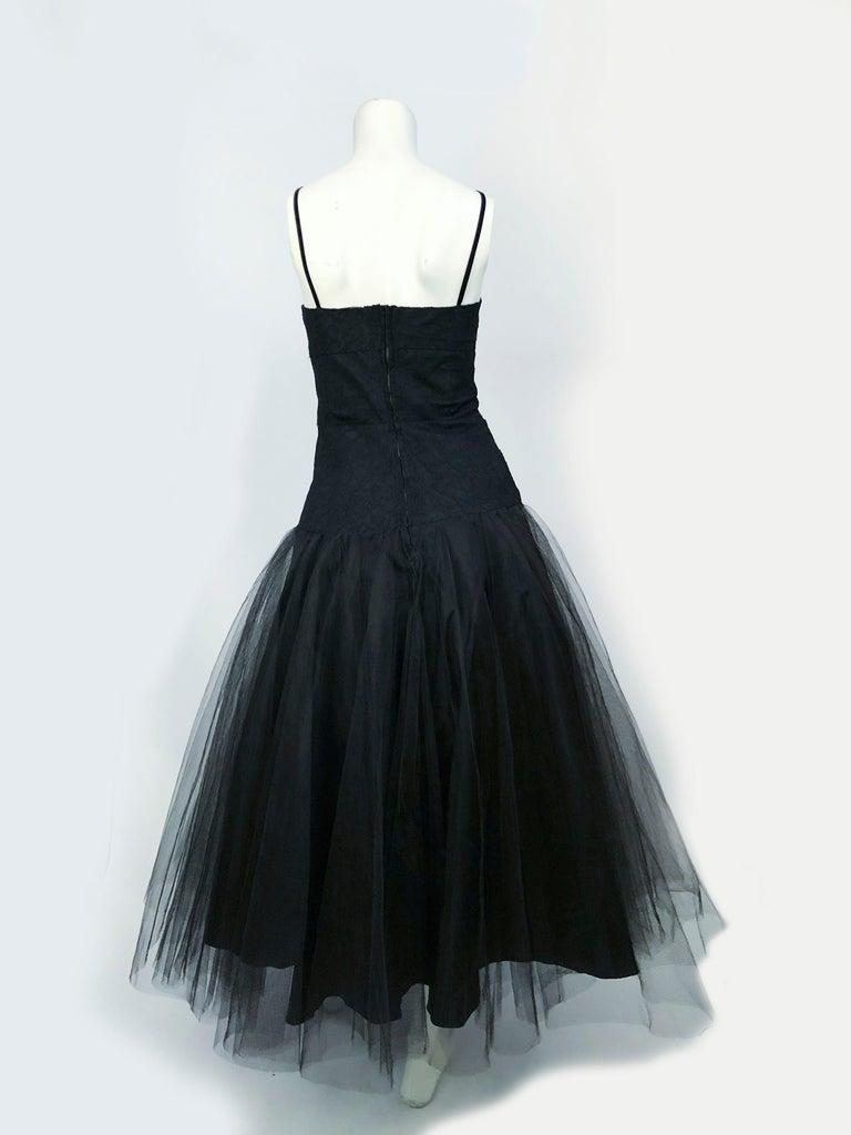 1950s Beaumelle Black Cocktail Dress For Sale 1
