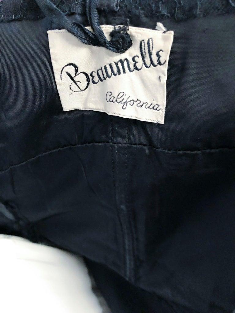 1950s Beaumelle Black Cocktail Dress For Sale 2