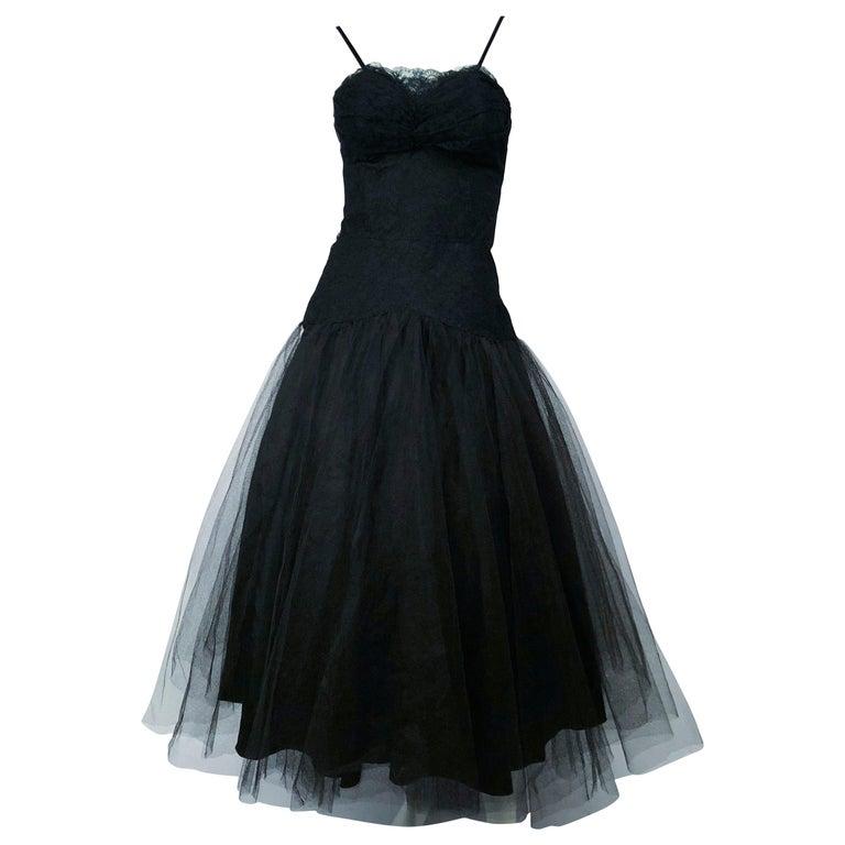 1950s Beaumelle Black Cocktail Dress For Sale