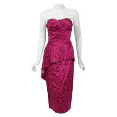 1950's Beaumelle Embroidered Fuchsia Satin Shelf-Bust Strapless Peplum Dress