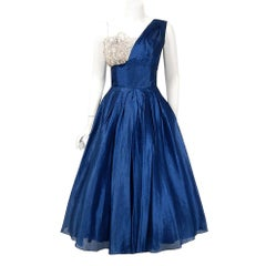 1950's Beaumelle Sapphire Blue Organza & Metallic Lace One-Shoulder Party Dress