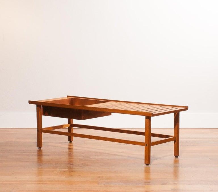Swedish 1950s, Plant Bench / Coffee Table by Yngve Ekström in Teak For Sale