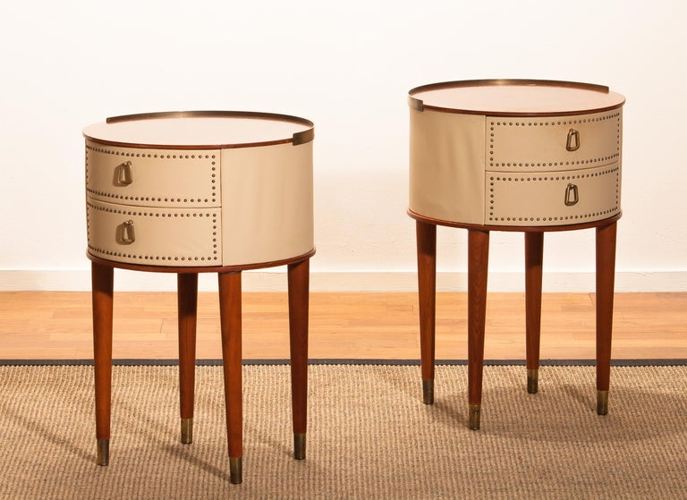 1950s, Bedside Tables In Mahogany And Brass By Halvdan