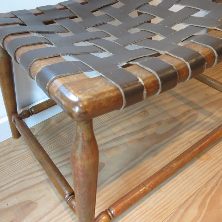 1950s Beechwood and Brown Leather Strap Wooden Stool For Sale 4