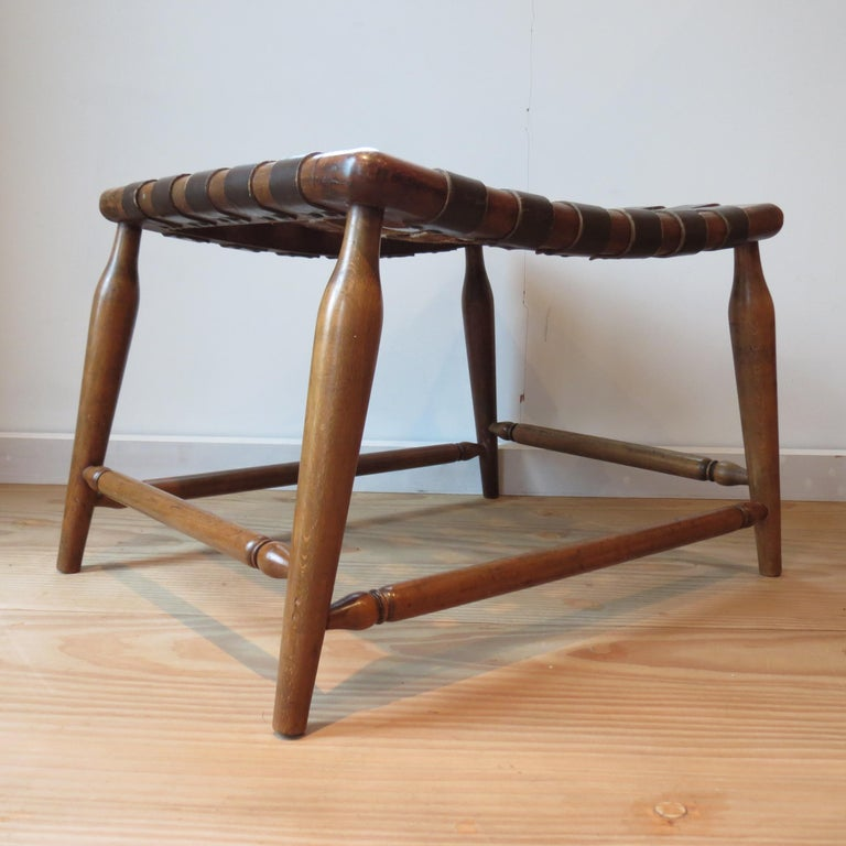 Hand-Crafted 1950s Beechwood and Brown Leather Strap Wooden Stool For Sale