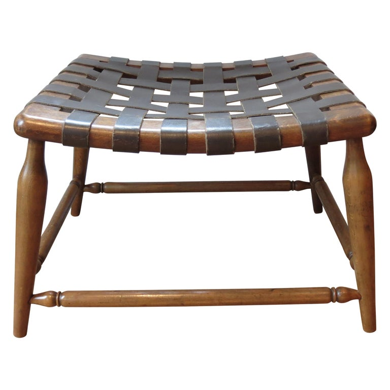 1950s Beechwood and Brown Leather Strap Wooden Stool For Sale