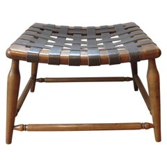 1950s Beechwood and Brown Leather Strap Wooden Stool