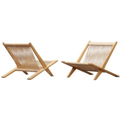 1950s Beige and Wooden Set of Easy Chairs by Poul Kjaerholm and Jorgen Hoj 'b'
