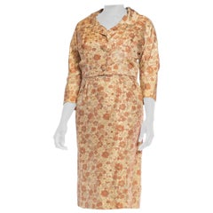 1950S Beige & Brown Silk Indian Floral Print Dress Jacket Ensemble