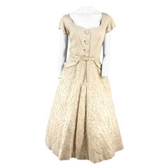 1950s Beige Linen Day Dress with Decorative Piping