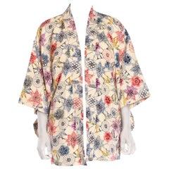 1950S Beige Silk Crepe Blue, Purple & Pink Floral Kimono