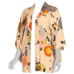 1950S Beige Silk Crepe Hand Painted Ombré Deco Floral Kimono