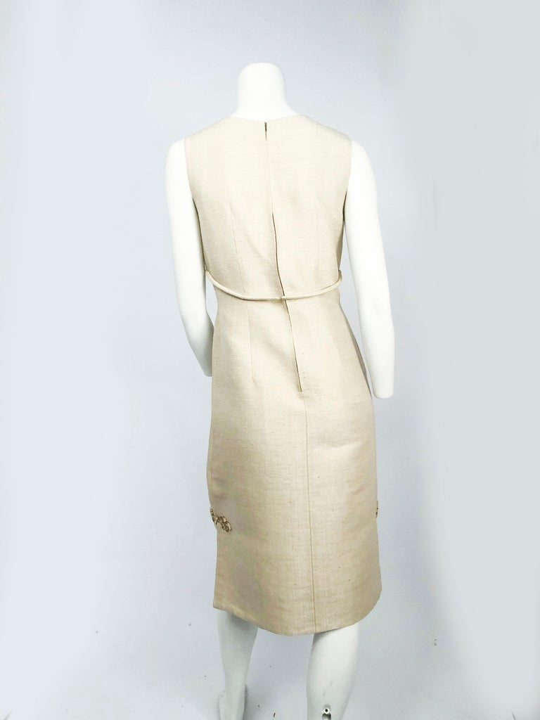 May 26th Suit Up Swing Style: 1950s Beige Silk Dress With Matching Swing Coat For Sale