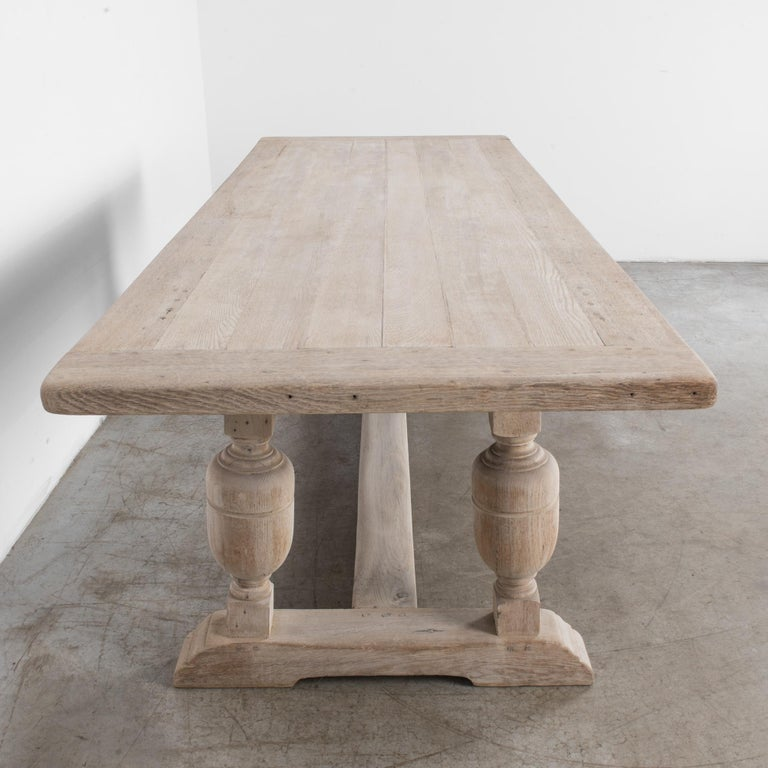 1950s Belgian Bleached Oak Dining Table 5
