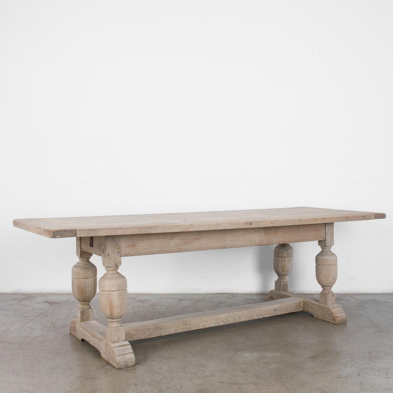 French Provincial 1950s Belgian Bleached Oak Dining Table