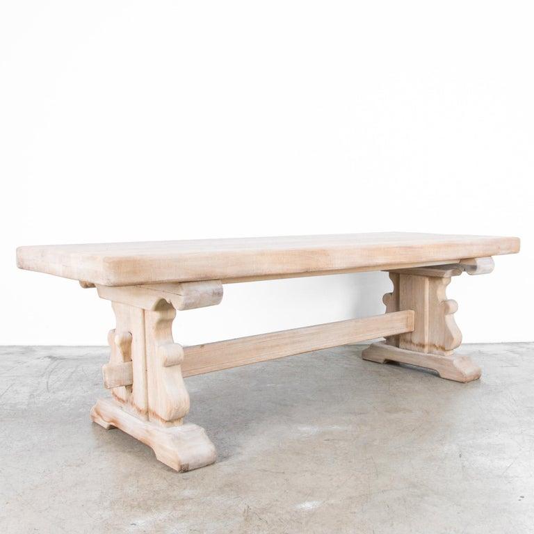 French Provincial 1950s Belgian Bleached Oak Trestle Table