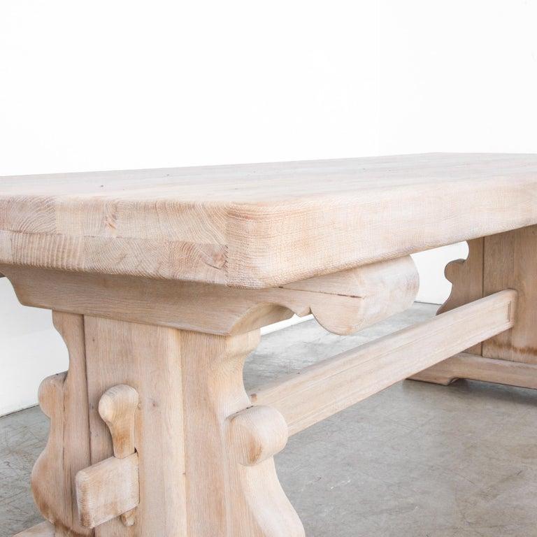 Mid-20th Century 1950s Belgian Bleached Oak Trestle Table