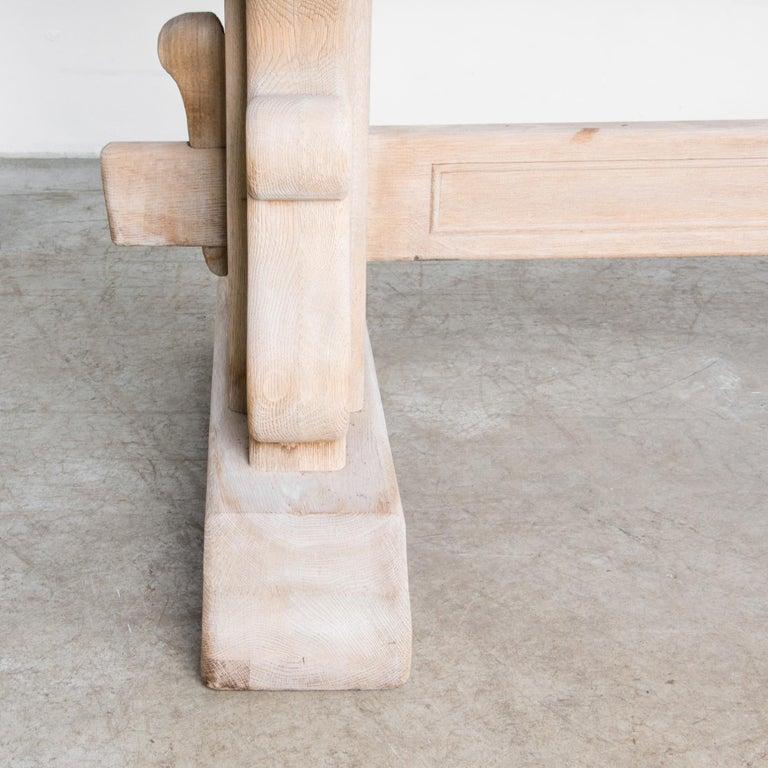 1950s Belgian Bleached Oak Trestle Table 2