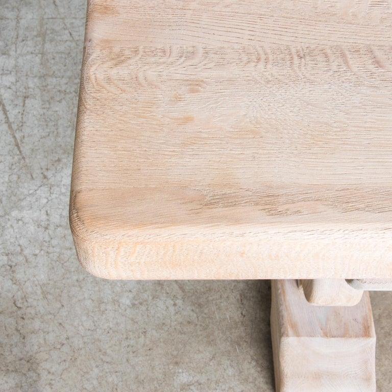 1950s Belgian Bleached Oak Trestle Table 3