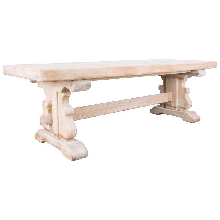 1950s Belgian Bleached Oak Trestle Table