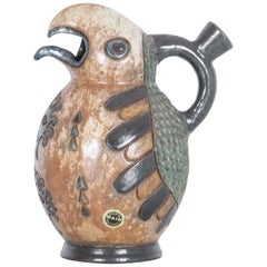 1950s Belgian Bouffioulx Carved Turtle Ceramic Pitcher