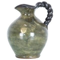1950s Belgian Bouffioulx Green Ceramic Pitcher
