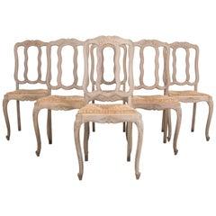 1950s Belgian Oak Dining Chairs, Set of Six