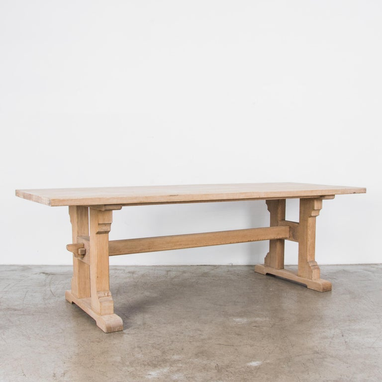 French Provincial 1950s Belgian Oak Trestle Dining Table For Sale