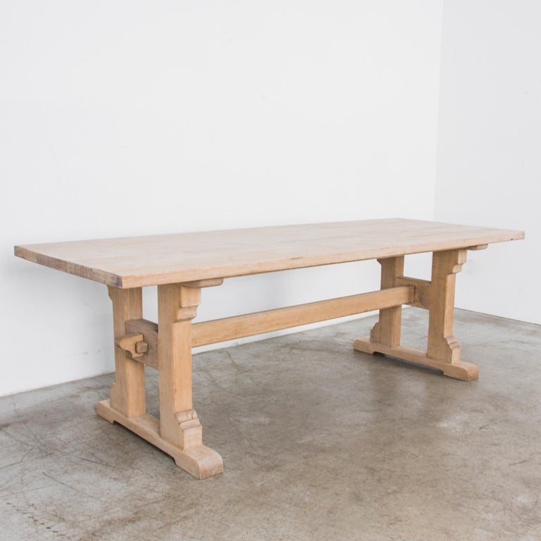 French 1950s Belgian Oak Trestle Dining Table For Sale