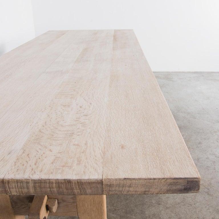 Bleached 1950s Belgian Oak Trestle Dining Table For Sale