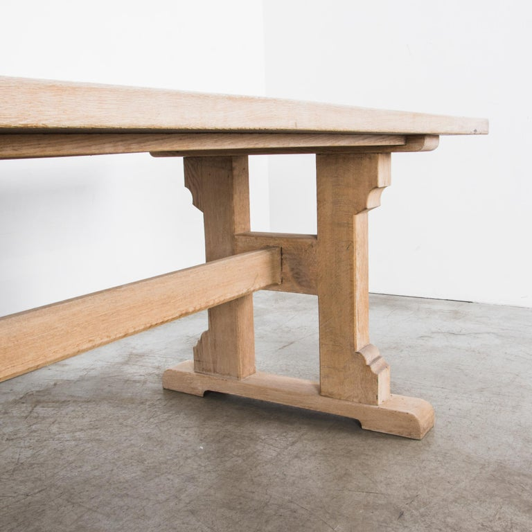 Mid-20th Century 1950s Belgian Oak Trestle Dining Table For Sale