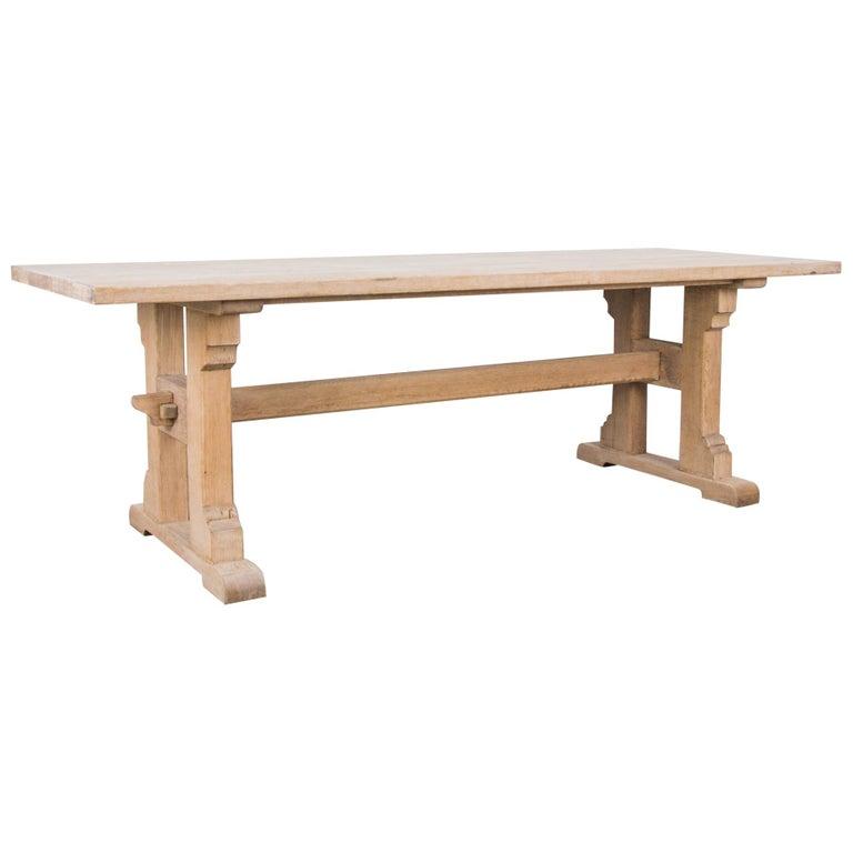 1950s Belgian Oak Trestle Dining Table For Sale