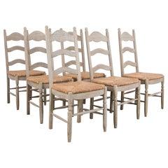 1950s Belgian Rustic Oak Dining Chairs, Set of Six