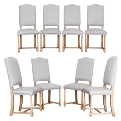 1950s Belgian Upholstered Dining Chairs, a Set of Eight
