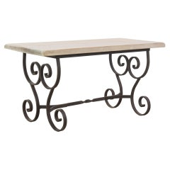 1950s Belgian Wrought Iron Coffee Table with Wooden Top