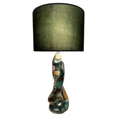 1950s Belgium Val St Lambert Green Twisted & Clear Crystal Table Lamp inc Shade